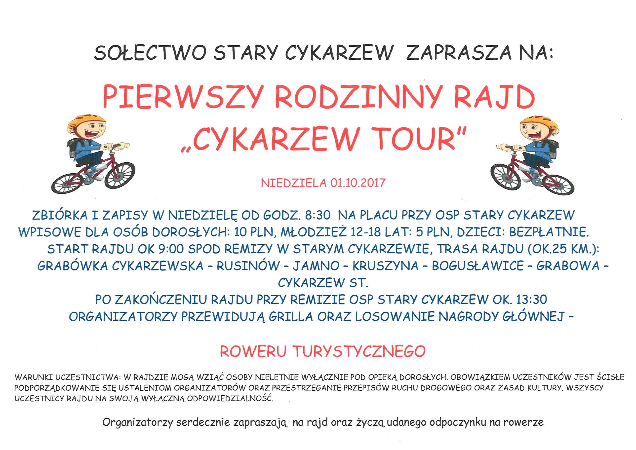 """I Rodzinny Rajd """"Cykarzew Tour"""", zapraszamy!"""